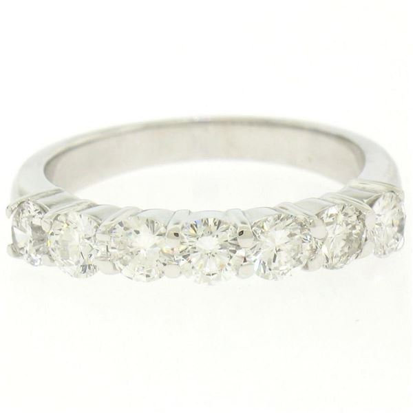 NEW 14K White Gold 1.25 ctw Prong Large Round Brilliant Diamond Wedding Band Rin