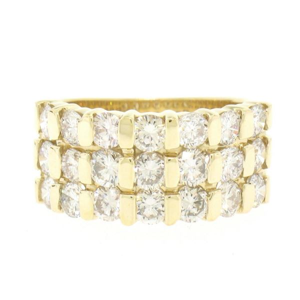 14kt Yellow Gold 2.52 ctw Wide 3 Row Large Round Diamond Band Ring