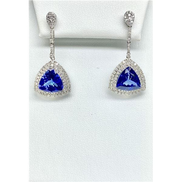 18KT White Gold 8.67 ctw Tanzanite and Diamond Earrings
