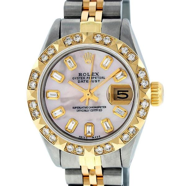 Rolex Ladies 26 2T Pink MOP Baguette 18K YG Diamond Bezel Serviced And Polished