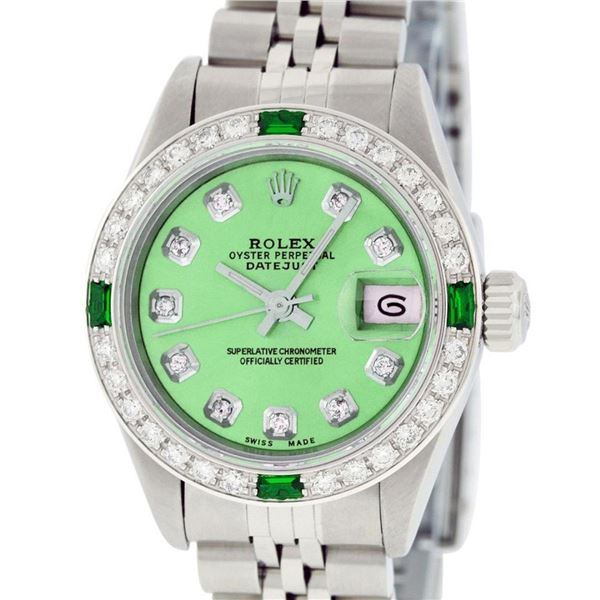 Rolex Ladies Stainless Steel Quickset Green Diamond & Emerald Wristwatch