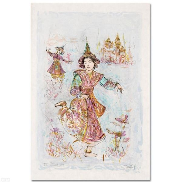 """Thai Dancers"" Limited Edition Lithograph by Edna Hibel, Numbered and Hand Signe"