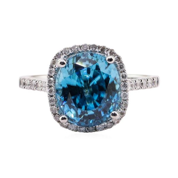 4.46 ctw Blue Zircon and Diamond Ring - 14KT White Gold