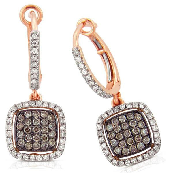 14k Rose Gold  0.73CTW Diamond and Brown Diamonds Earrings