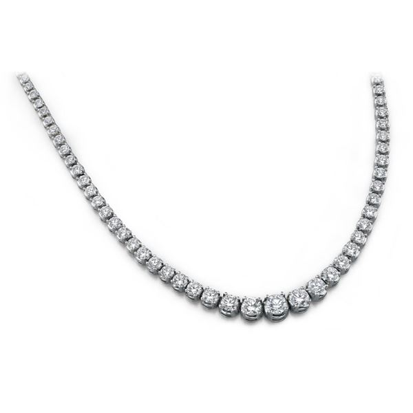 18K White Gold 14.42CTW Diamond Necklace, (SI1-SI2/F-G)