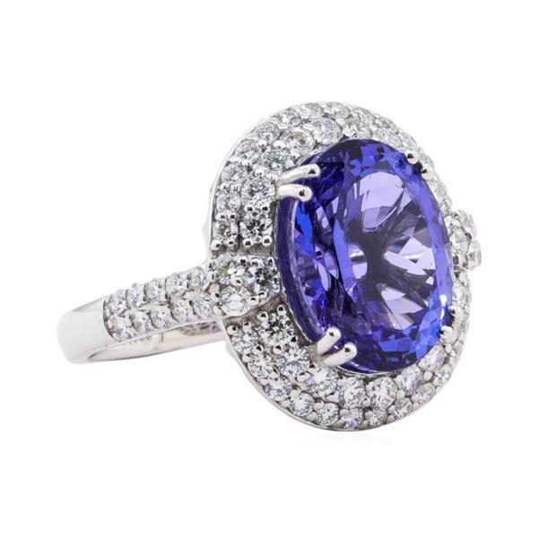 7.05 ctw Tanzanite and Diamond Ring - Platinum
