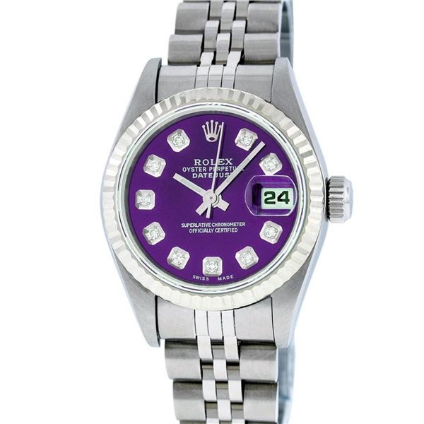 Rolex Ladies Stainless Steel Purple Diamond Quickset Datejust Wristwatch 26MM