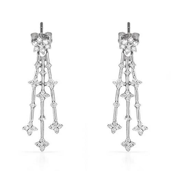 14k White Gold 0.50 ctw Diamond Earrings, (I1-I2/G-H)