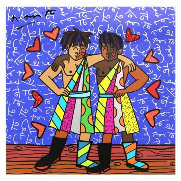 "Britto, ""Gemini Boys (Black)"" Hand Signed Limited Edition Giclee on Canvas; Auth"