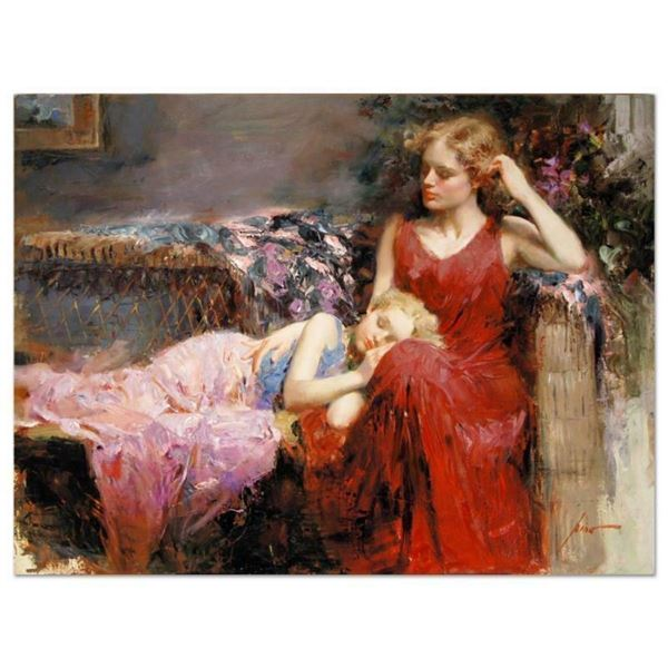 "Pino (1939-2010), ""A Mother's Love"" Artist Embellished Limited Edition on Canvas"