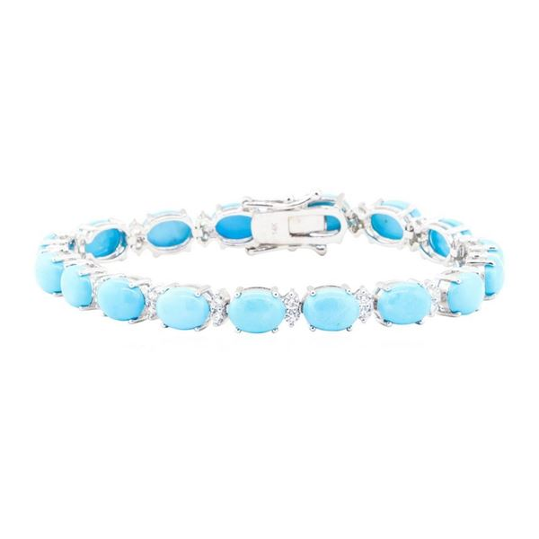 20.80 ctw Turquoise And Diamond Bracelet - 14KT White Gold