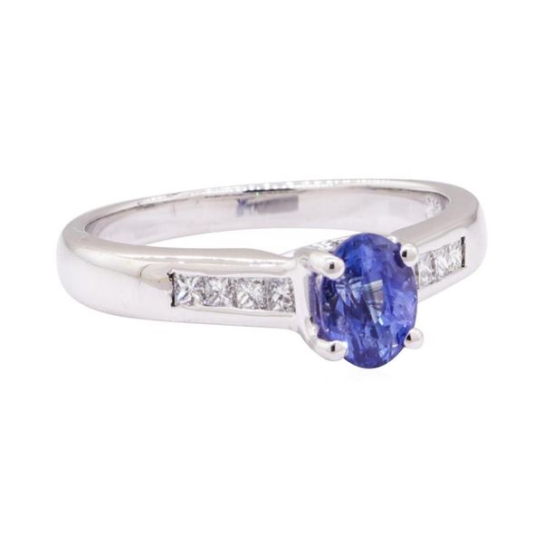 1.42 ctw Blue Sapphire and Diamond Ring - 18KT White Gold