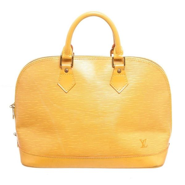 Louis Vuitton Yellow Epi Leather Alma MM Hobo Bag