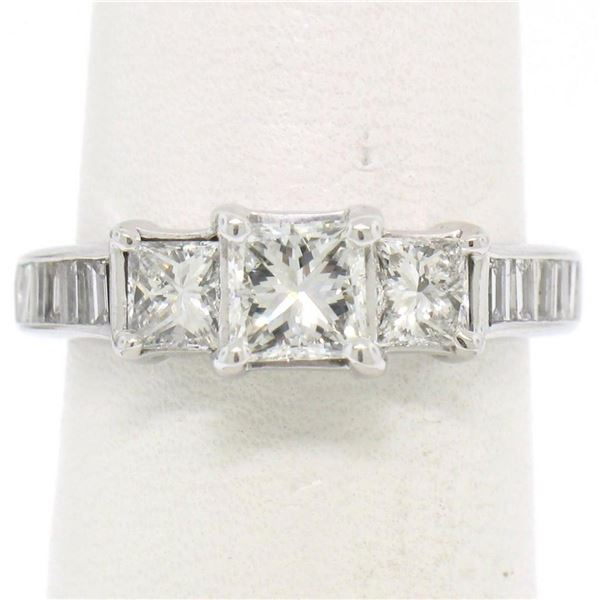 14k White Gold 1.45 ctw 3 Princess Diamond Engagement Ring w/ Baguette Accents