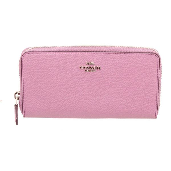Coach Pink Leather Accordian Zippy Wallet