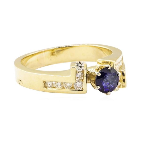 1.00 ctw Blue Sapphire and Diamond Ring - 14KT Yellow Gold
