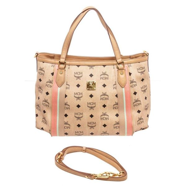 MCM Ivory Visetos Coated Canvas Shopper Tote Bag