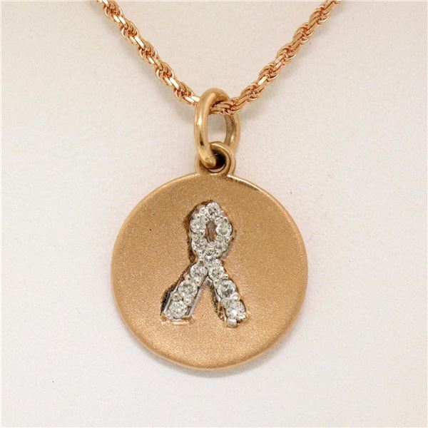 "14K Rose Gold 0.10 ctw Diamond Awareness Ribbon Disc Pendant w/ 16"" Rope Chain"