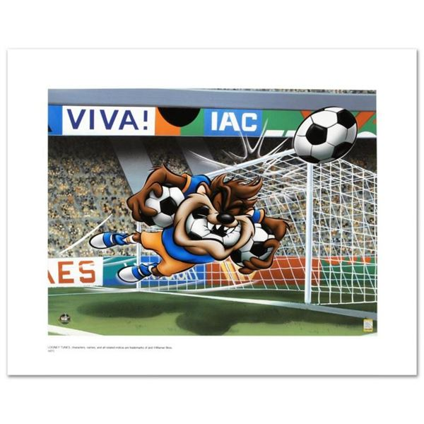 """Taz Soccer"" Limited Edition Giclee from Warner Bros., Numbered with Hologram Se"