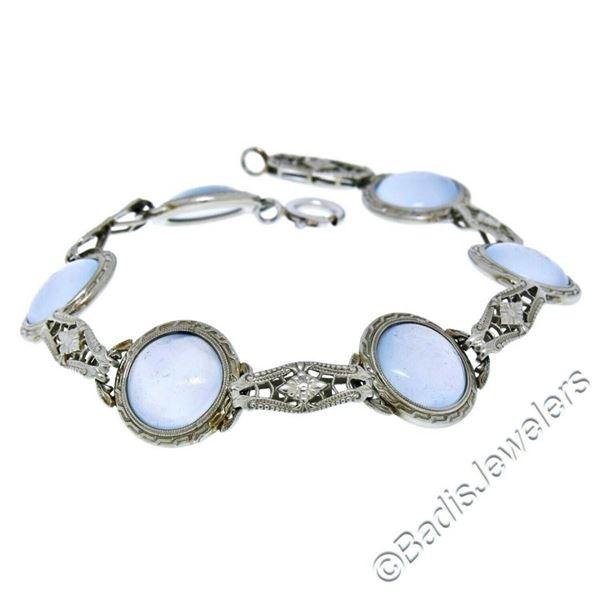 Antique Art Deco 14kt White Gold Blue Moonstone Etched Filigree Bracelet