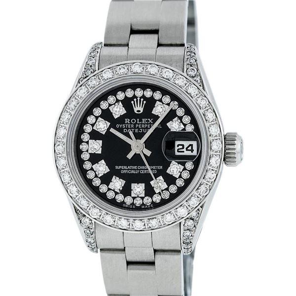 Rolex Ladies Quickset SS 26MM Black Diamond Lugs Oyster Quickset Datejust Wristw