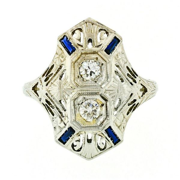Art Deco 18kt White Gold Euro Cut Diamond & Sapphire Filigree Dinner Ring