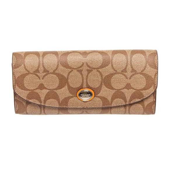 Coach Beige Signature Coated Canvas Peyton Slim Envelope Wallet