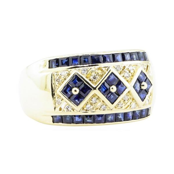 1.86 ctw Blue Sapphire And Diamond Wide Band - 14KT Yellow Gold
