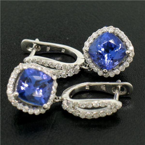 14k White Gold 4.15 ctw Cushion Tanzanite Dangle Earrings w/ Pave Diamond Halos
