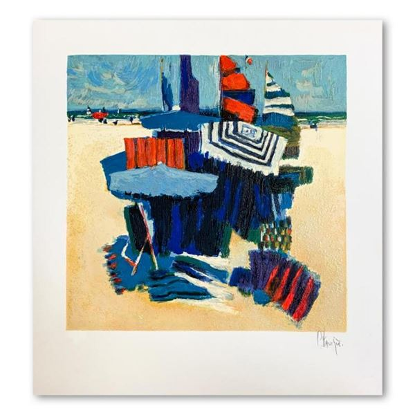 """Claude Fauchere, """"Beach Hideout"""" Hand Signed Limited Edition Serigraph on Paper"""