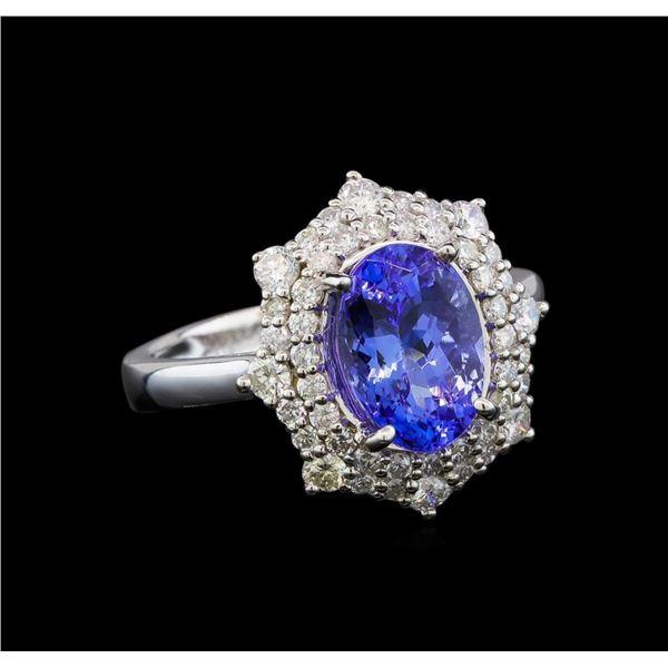 14KT White Gold 3.11 ctw Tanzanite and Diamond Ring