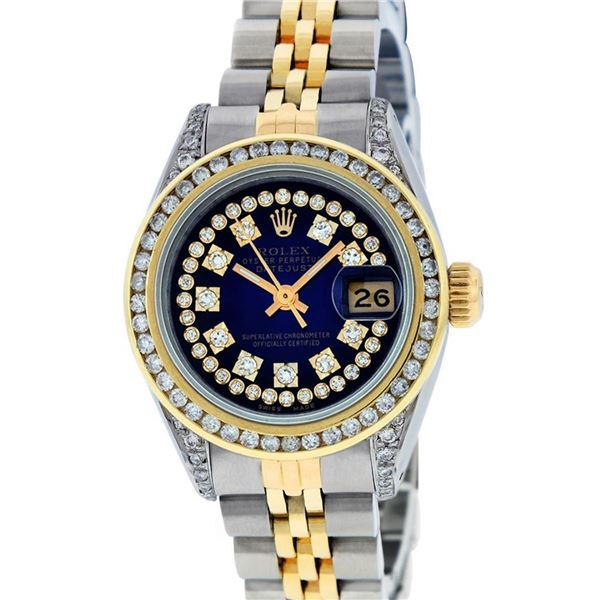 Rolex Ladies 2 Tone Blue Vignette String Diamond Channel Set Datejust Wriswatch