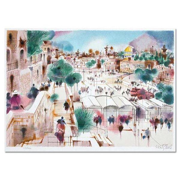 "Shmuel Katz (1926-2010), ""Wailing Wall Plaza"" Hand Signed Limited Edition Serigr"