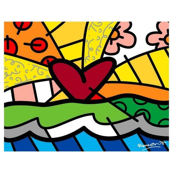 """Romero Britto """"Forever"""" Hand Signed Limited Edition Giclee on Canvas; COA"""