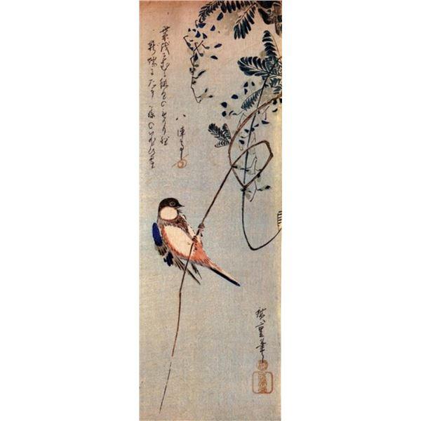 Hiroshige A Bird on a Wisteria