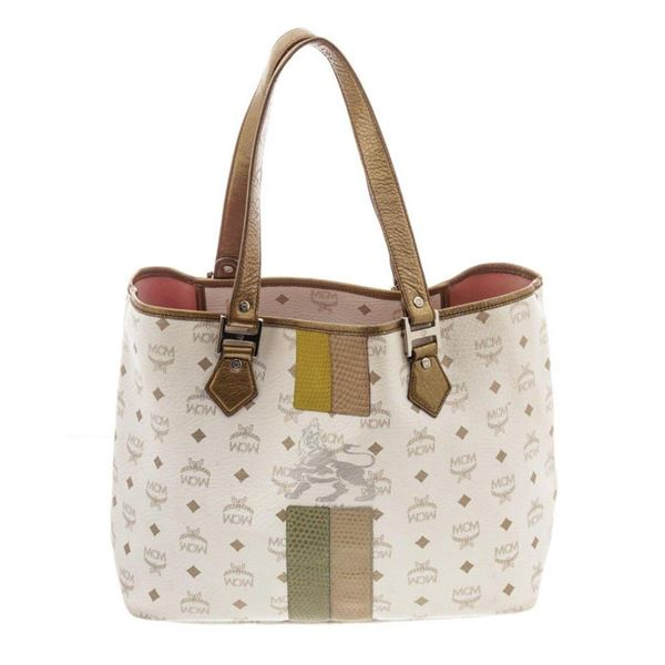 MCM White Visetos Coated Canvas Lion Shopper Tote