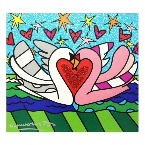 """Romero Britto """"Soul Mate"""" Hand Signed Limited Edition Giclee on Canvas; Authenti"""