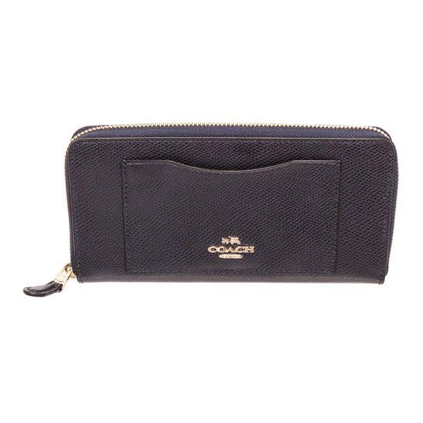 Coach Navy Blue Leather Long Zippy Wallet