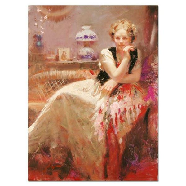 """Pino (1939-2010), """"A Pause"""" Artist Embellished Limited Edition on Canvas, Number"""
