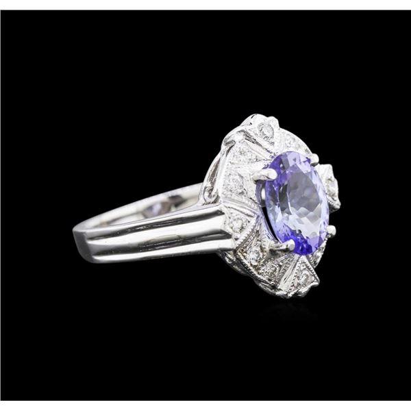 1.67 ctw Tanzanite and Diamond Ring - 14KT White Gold
