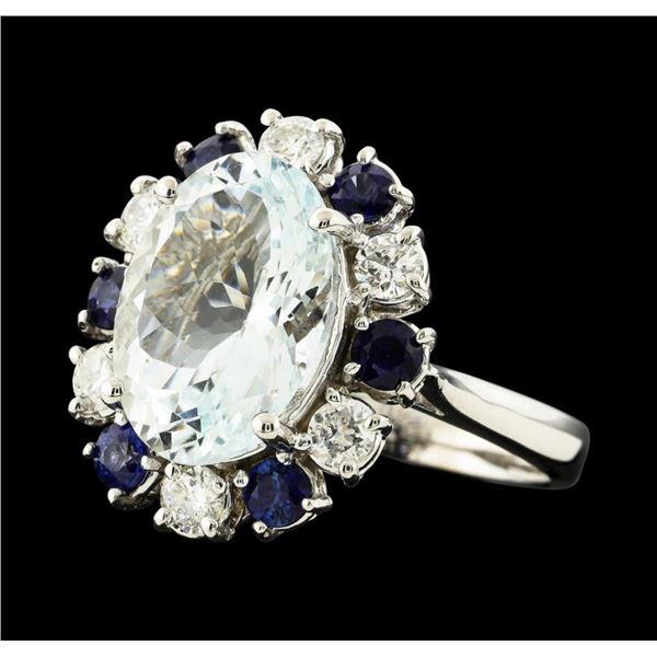 4.96 ctw Aquamarine, Sapphire and Diamond Ring - 14KT White Gold