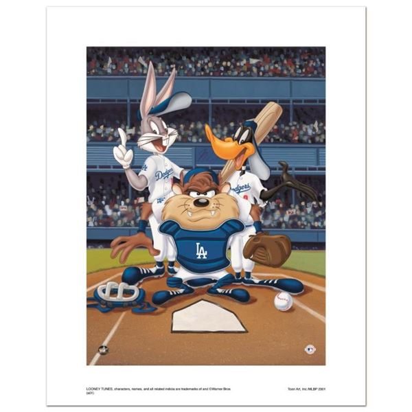 """""""At the Plate (Dodgers)"""" Numbered Limited Edition Giclee from Warner Bros. with"""