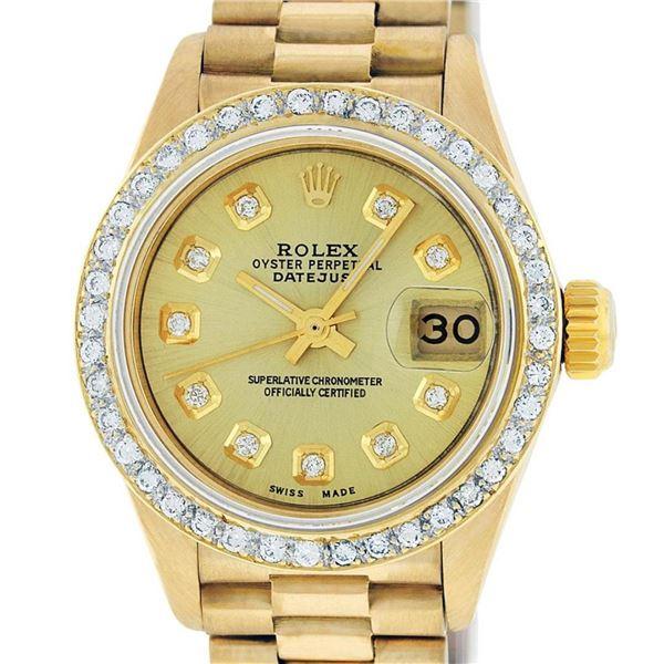 Rolex Ladies 18K Yellow Gold Champagne Diamond President Wristwatch 26MM