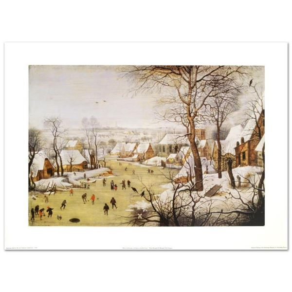"""""""Winter Landscape with Skaters and Bird-Trap"""" by Pieter Brueghel the Younger (15"""