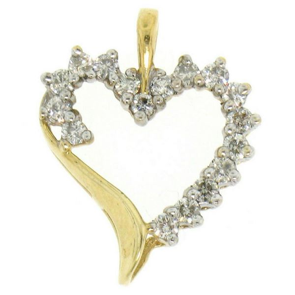 10K Solid Yellow Gold .50 ctw Partial Diamond Outlined Open Heart Pendant Charm