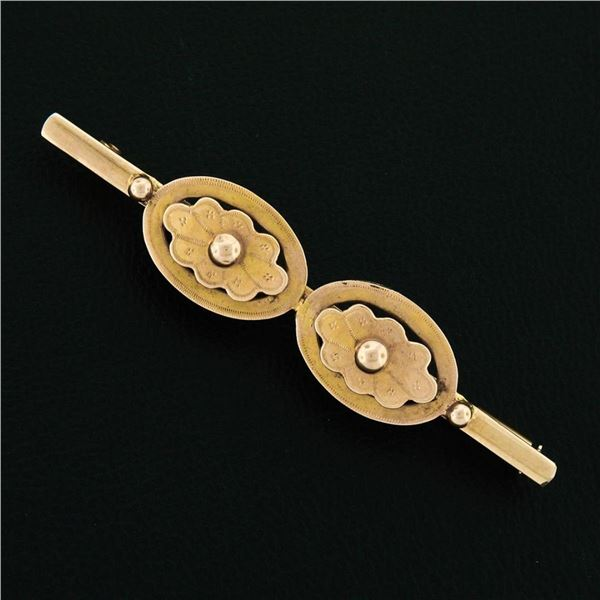 French Antique Victorian 18K Yellow Gold Detailed Dual Button Bar Pin Brooch