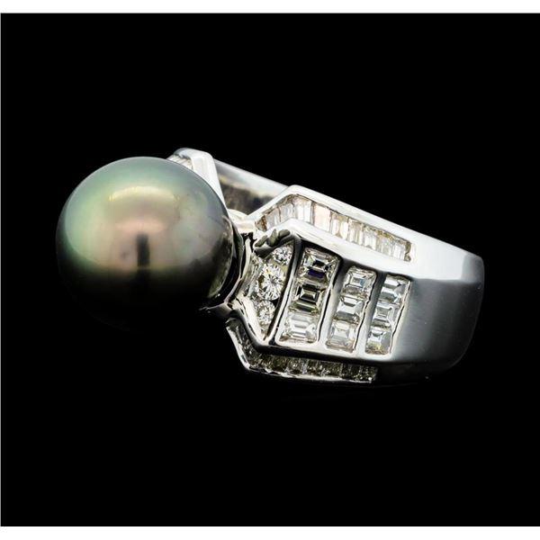 1.49 ctw Diamond and Black Pearl Ring - Palladium