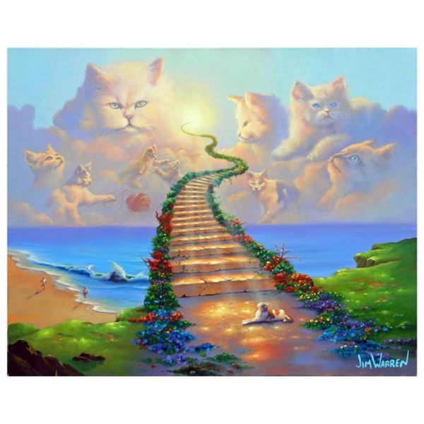 "Jim Warren, ""All Cats go to Heaven"" Hand Signed, Artist Embellished AP Limited E"