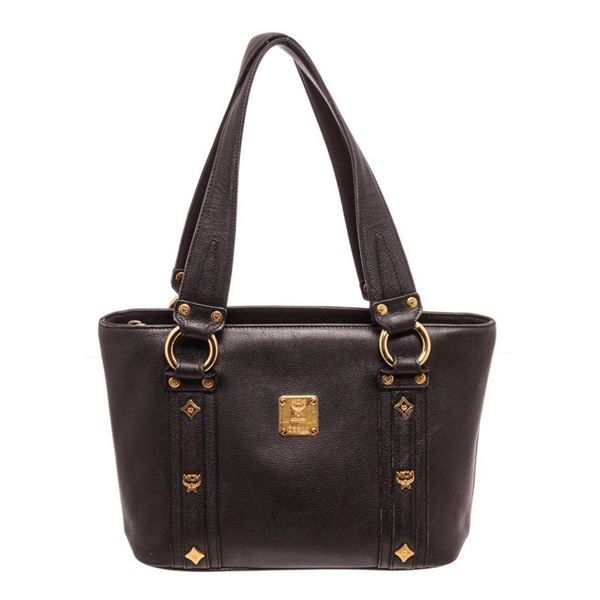 MCM Black Leather Tote Bag
