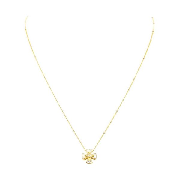 0.03 ctw Diamond and Pearl Cross Pendant with Chain - 14KT and 18KT Yellow Gold
